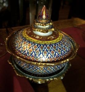 Traditional Thai dinnerware at Erawan.
