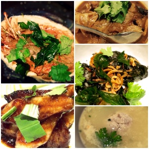 Non spicy Ah-ma-kase mains clockwise from top left. King Tiger Prawn with Turmeric Butter, Chap Chye, Baby Squid Assam Squid Ink, Crab Meatball Soup, Grilled Pork Jowl