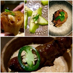 Non-spicy starter clockwise from top left: Kueh Pie Tee, Tumbuk Prawn, Bergedil, Beef Flank Satay