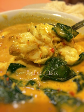 Crabmeat with Curry and Coconut Milk. Chunks and chunks of crabmeat swim in a tangy curry gravy.