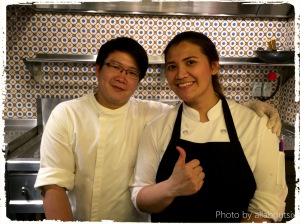 Chefs at the noodle open kitchen